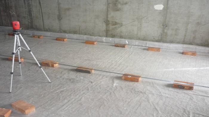 Установка ориентиров и маяков для стяжки